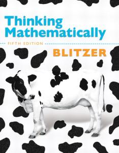 Thinking Mathematically, 5th Edition Robert F. Blitzer  ISBN-13: 9780321645852 ISBN-10: 0321645855